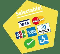 クレジットブランド一覧、VISA、MasterCard、JCB、AMEX、Diners、WeChat、Alipay